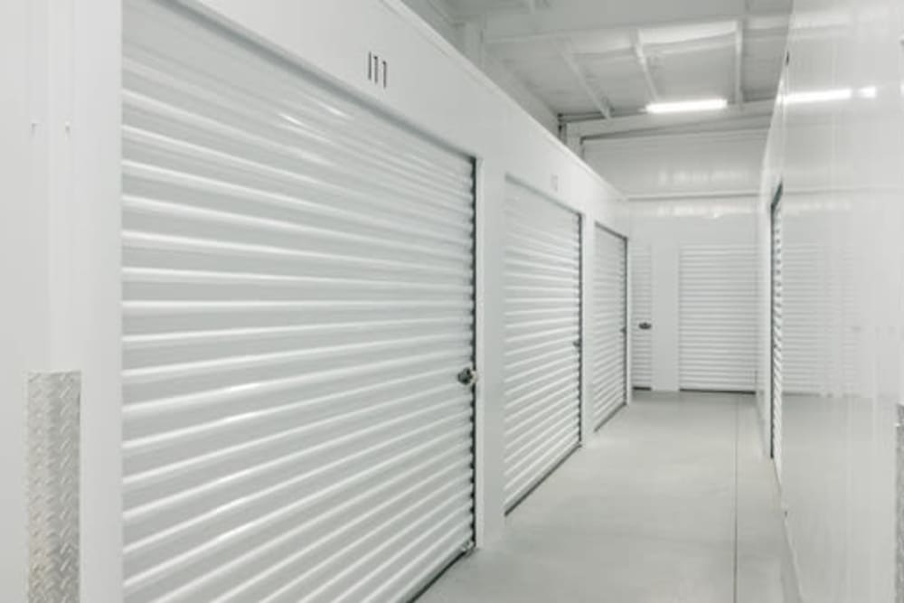 Garage style roll up doors on self storage units at StayLock Storage in Elkhart, Indiana
