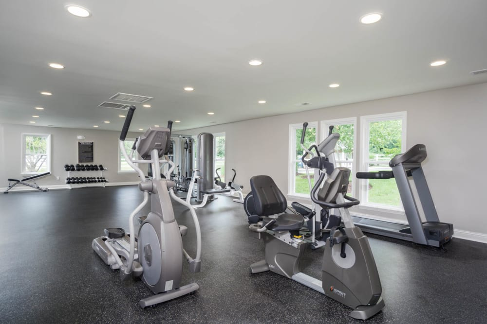The gym with stationary bikes at Paddock Club Apartments in Florence, Kentucky