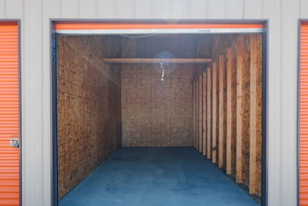 Roll-up doors on self storage units at StayLock Storage in Demotte, Indiana
