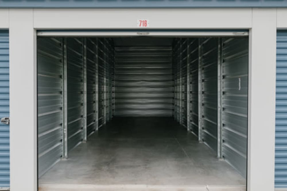 Garage style roll up doors on self storage units at StayLock Storage in Noblesville, Indiana
