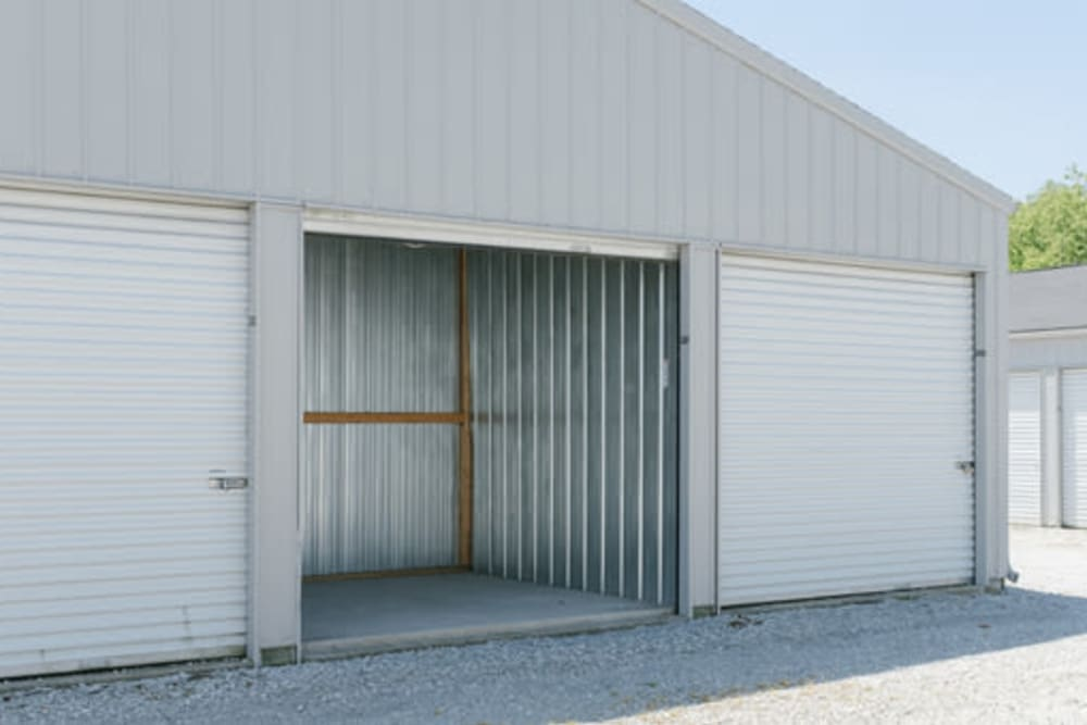 Garage style roll up doors on self storage units at StayLock Storage in Hebron, Indiana