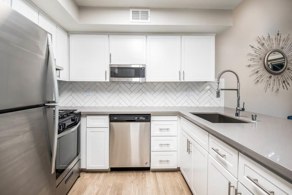 Apartment kitchen at Shore Park at Riverlake in Sacramento, California
