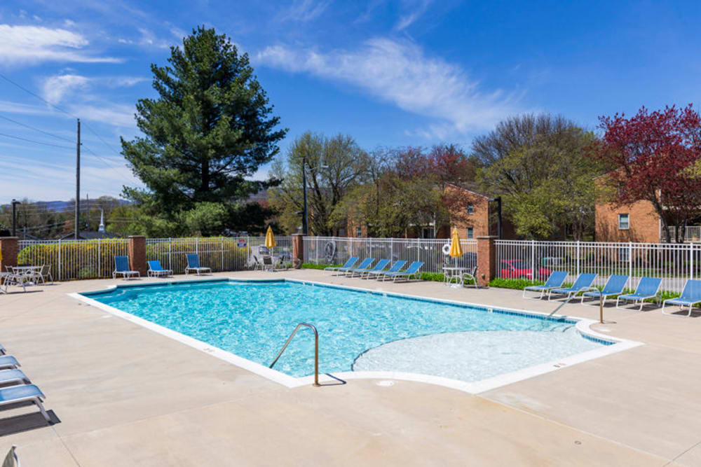Pool lounge at The Crest Apartments in Salem, Virginia