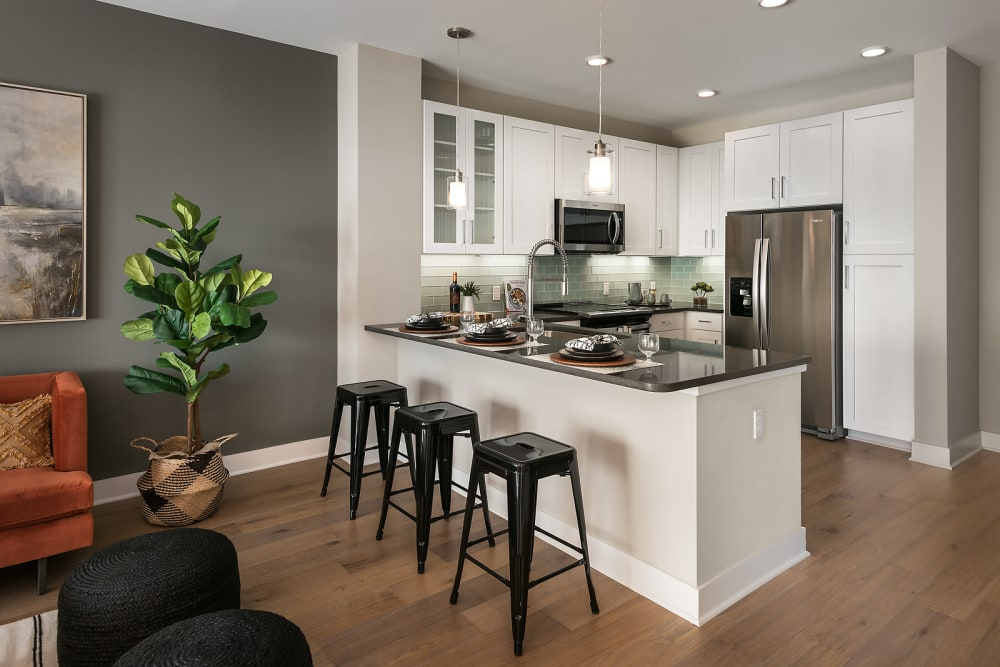 Modern decor in the living area of a model home at Park Place at Fountain Hills in Fountain Hills, Arizona