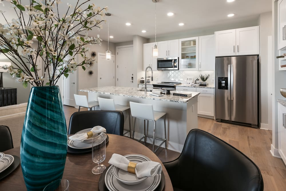 Gourmet kitchen with granite countertops in a model home at Park Place at Fountain Hills in Fountain Hills, Arizona