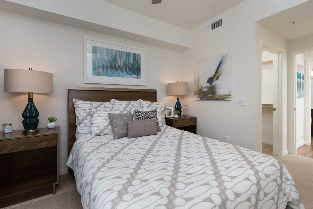 Large master bedroom with beautiful furnishings in a model home at Park Place at Fountain Hills in Fountain Hills, Arizona