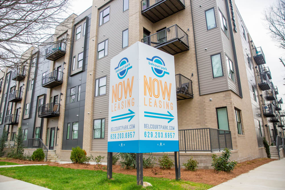 A now leasing sign at Belcourt Park in Nashville, Tennessee