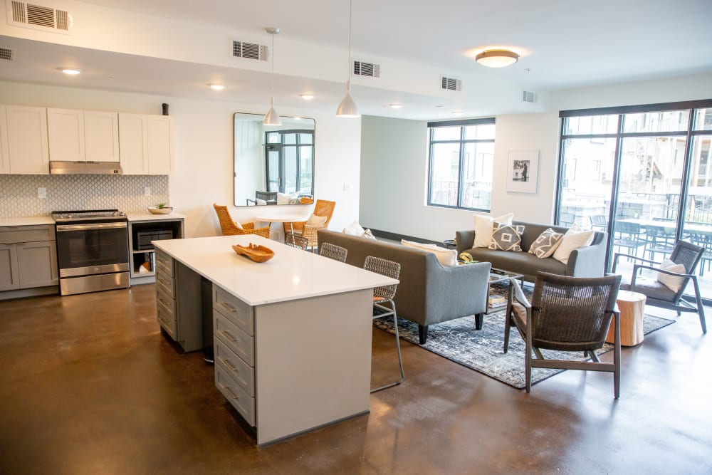 The lounge area with kitchen and seating at Belcourt Park in Nashville, Tennessee