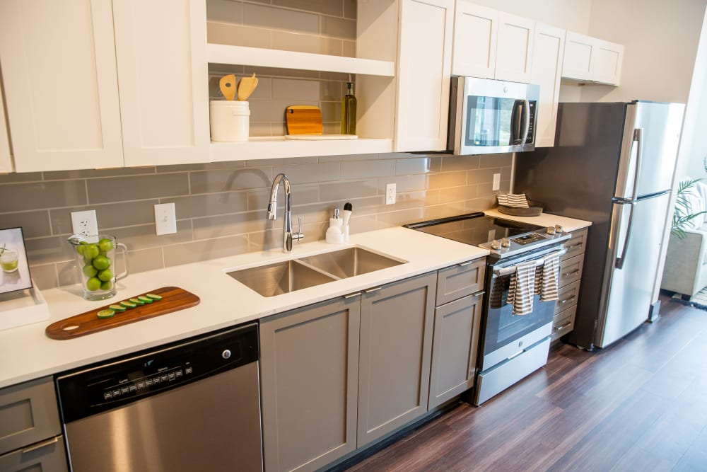 A kitchen with new appliances at Belcourt Park in Nashville, Tennessee