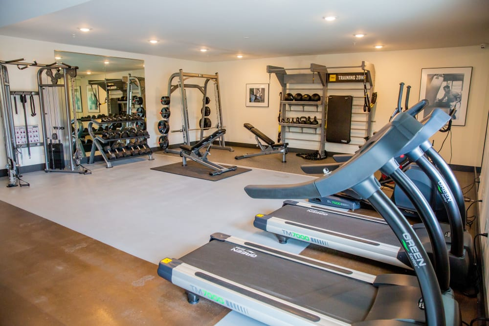 A gym with treadmills at Belcourt Park in Nashville, Tennessee