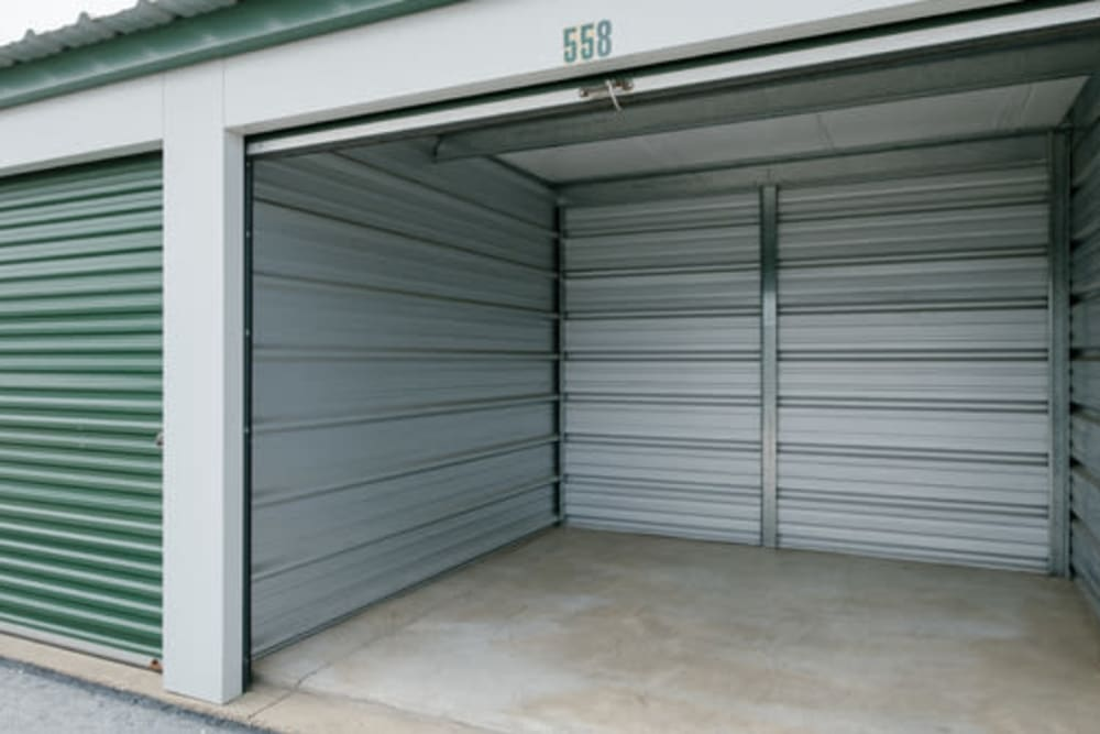 Roll-up doors on self storage units at StayLock Storage in Muncie, Indiana