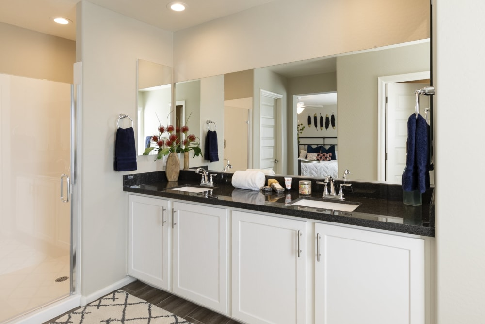 upgraded luxury bathroom at BB Living at Val Vista in Gilbert, Arizona