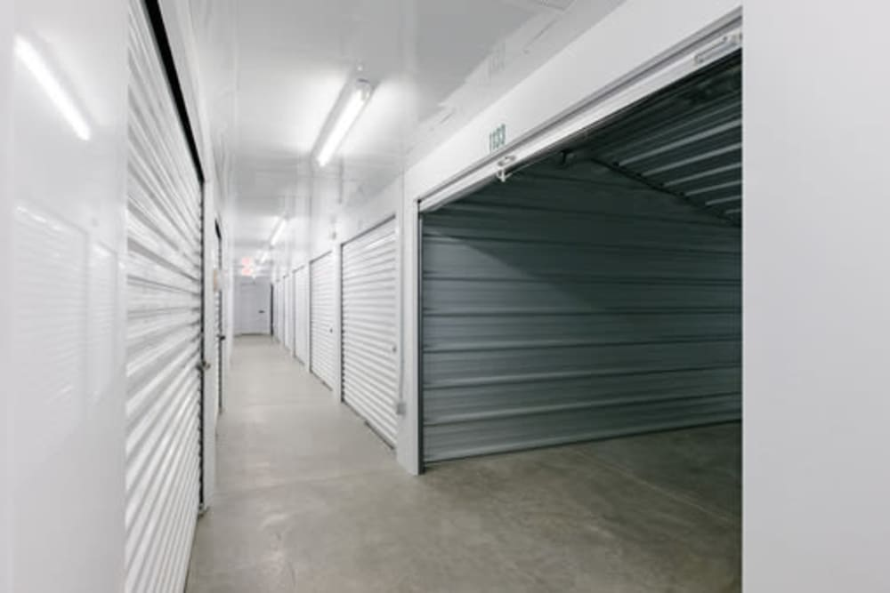 Garage style roll up doors on self storage units at StayLock Storage in Yorktown, Indiana