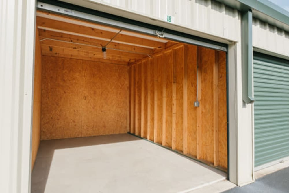 Garage style roll up doors on self storage units at StayLock Storage in Fort Wayne, Indiana