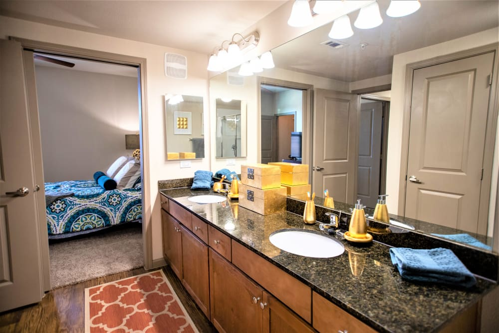 Spacious master bathroom with granite counters at Enclave at Grapevine in Grapevine, Texas