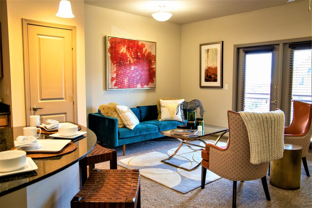 Well decorated living room at Enclave at Grapevine in Grapevine, Texas