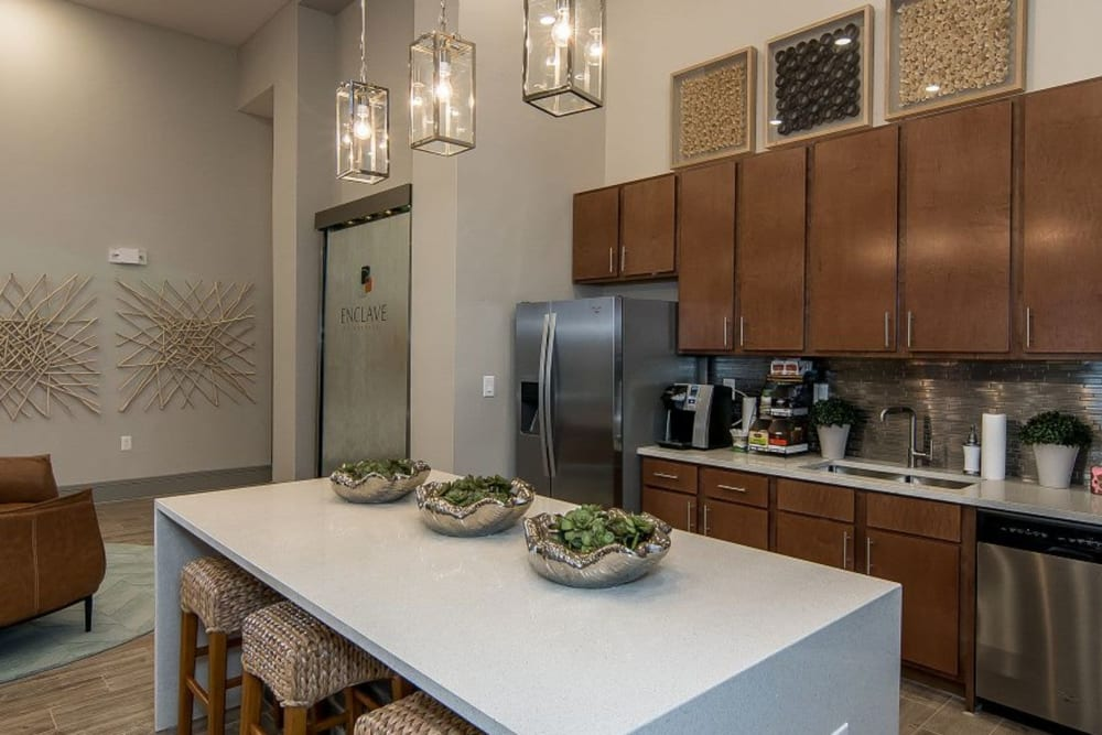 Community kitchen at Enclave at Westport in Roanoke, Texas