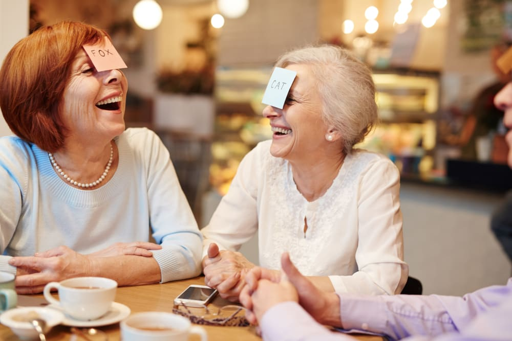 Residents play a game at Holstein Senior Living in Holstein, Iowa.