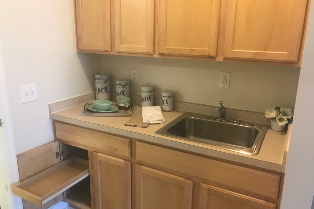 Resident apartments have kitchenettes at Arcadian Cove in Richmond, Kentucky.
