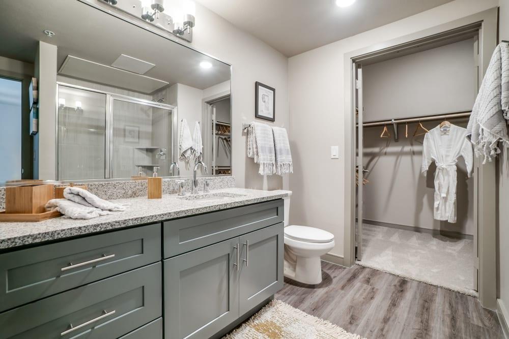 Bright, clean bathroom at One90 Firewheel in Garland, Texas