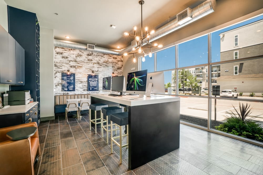 Onsite business center at One90 Firewheel in Garland, Texas