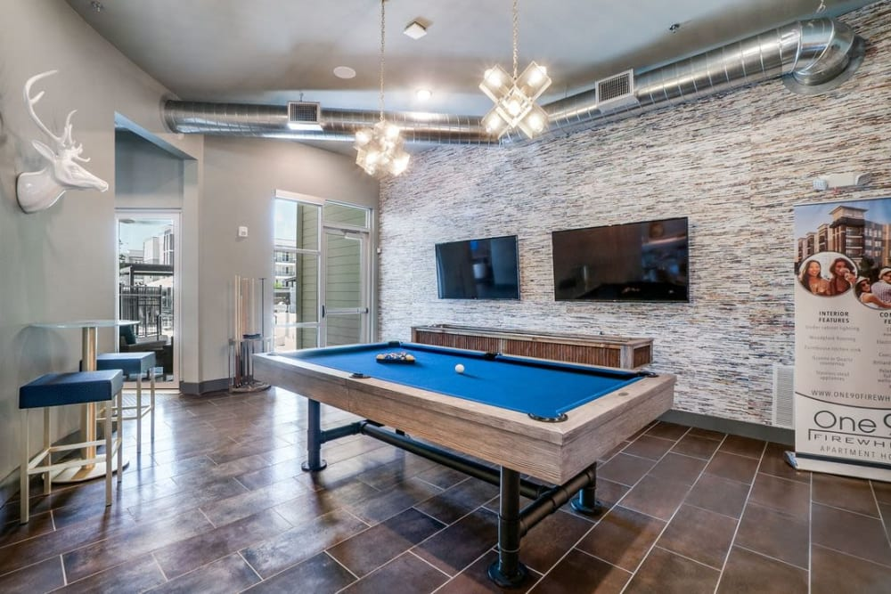 Entertainment lounge at One90 Firewheel in Garland, Texas