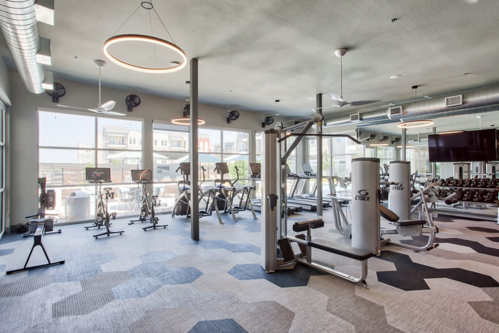 Fitness center at One90 Firewheel in Garland, Texas