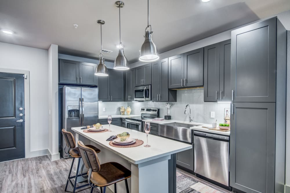 Spacious bright kitchen at Two99 Monroe in Roanoke, Texas