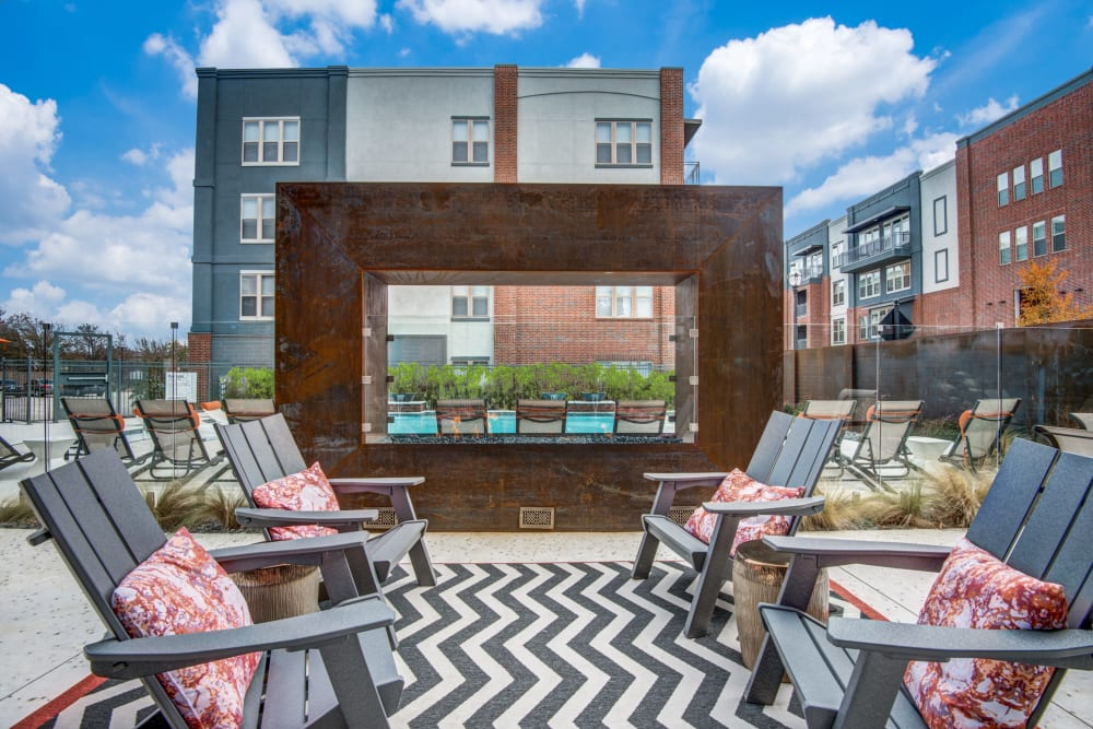 Outdoor lounge at Two99 Monroe in Roanoke, Texas