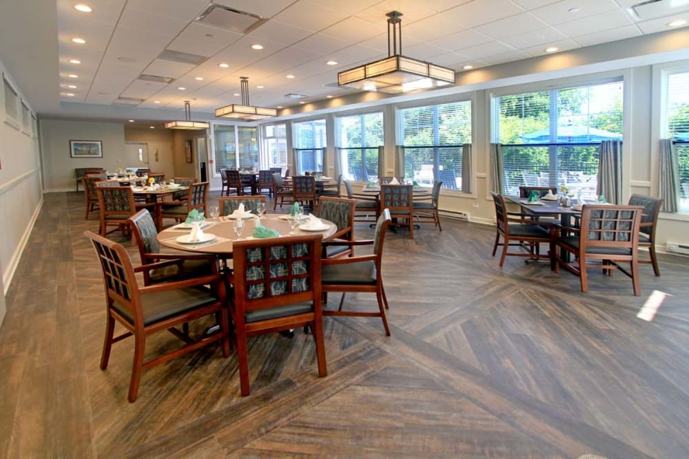 Set dining room tables at Anthology of Wheaton in Wheaton, Illinois