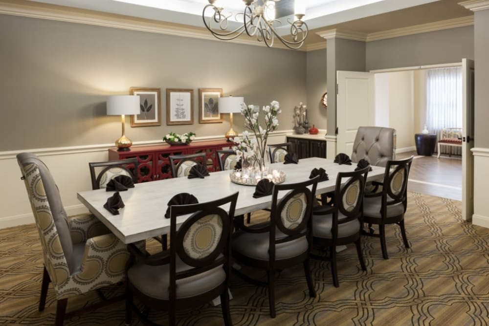A private dining room at Anthology of Stonebridge Ranch in McKinney, Texas
