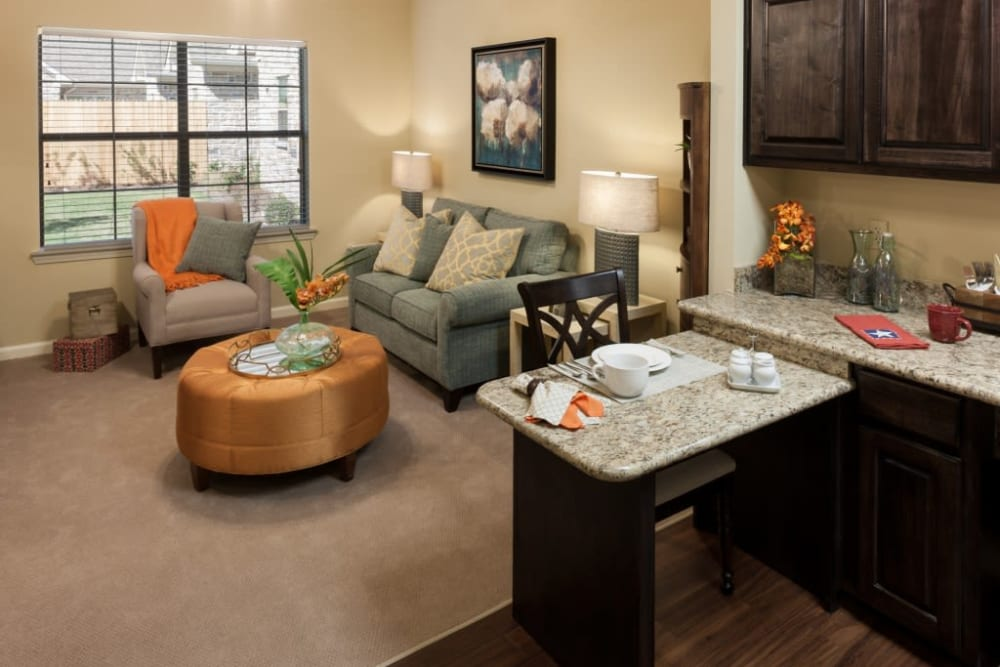 A spacious apartment living room at Anthology of Stonebridge Ranch in McKinney, Texas