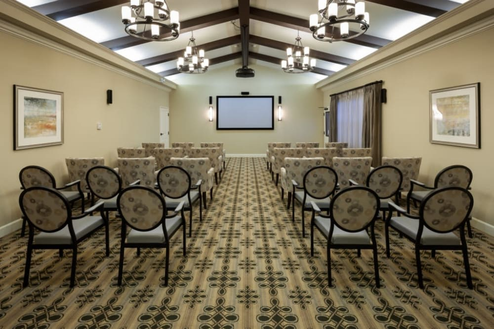 A theater for residents at Anthology of Stonebridge Ranch in McKinney, Texas