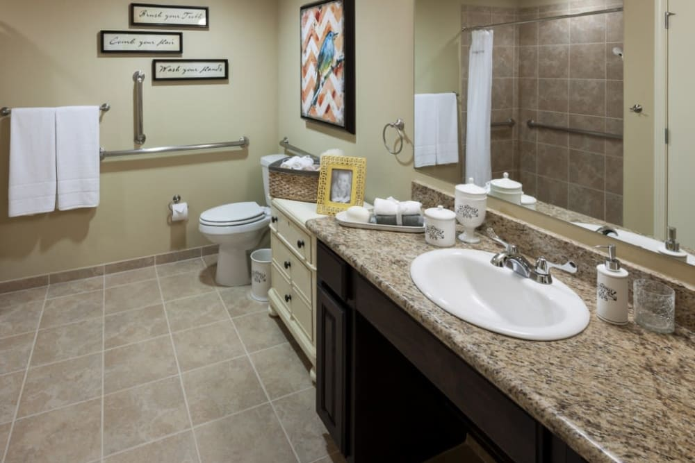 An accessible apartment bathroom at Anthology of Stonebridge Ranch in McKinney, Texas