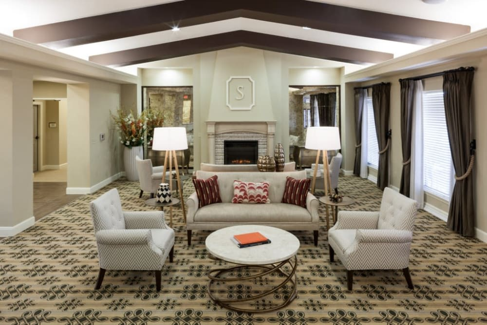Comfortable fireside seating at Anthology of Stonebridge Ranch in McKinney, Texas