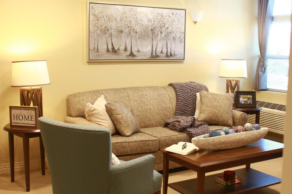 A comfortable model apartment living room at Anthology of Olathe in Olathe, Kansas