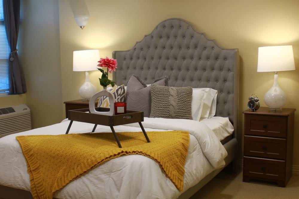 A decorated model bedroom at Anthology of Olathe in Olathe, Kansas