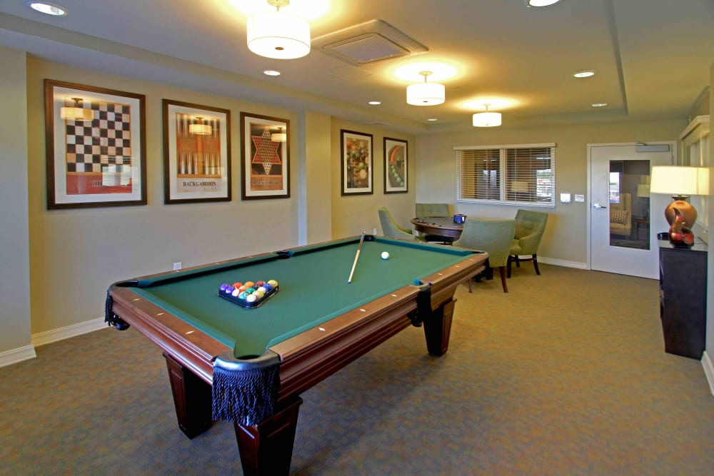 A billiards table at Anthology of Grayslake in Grayslake, Illinois