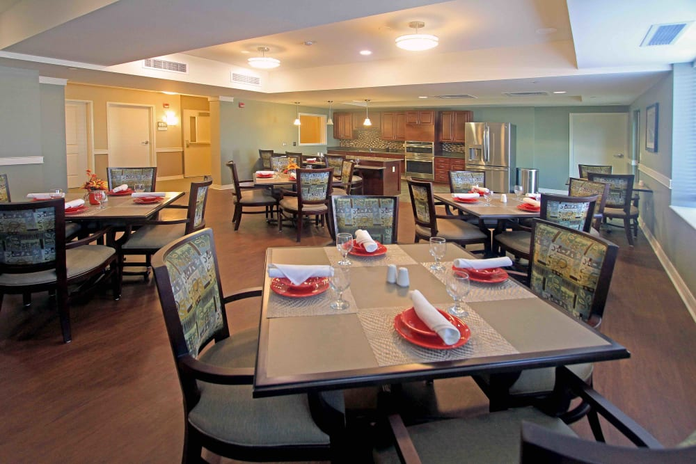 Set dining room tables at Anthology of Grayslake in Grayslake, Illinois