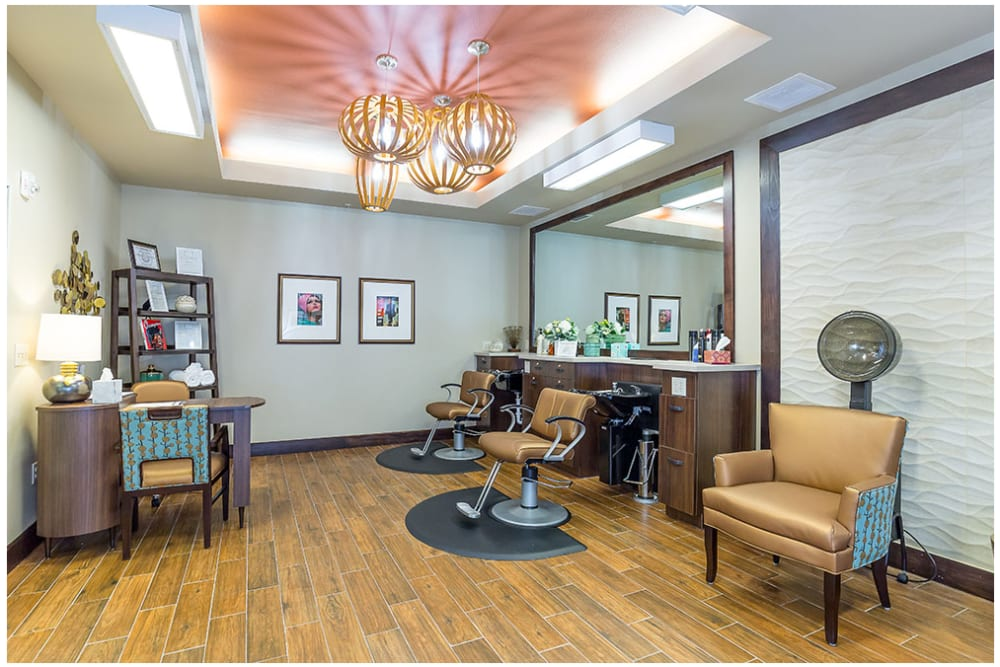 A hair salon for residents at Anthology of Denton in Denton, Texas