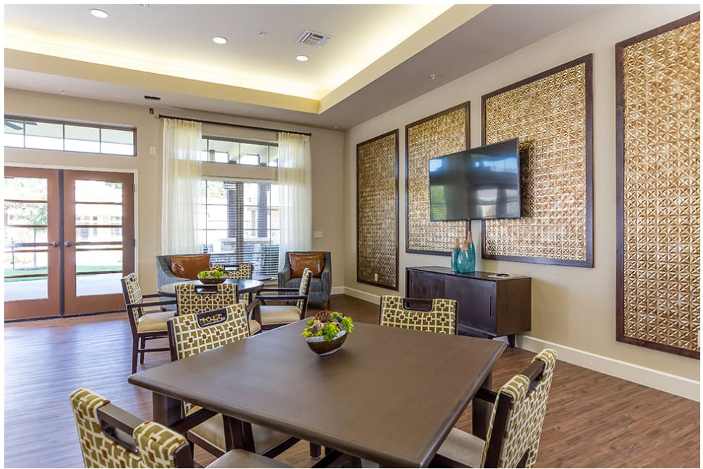 A television lounge at Anthology of Denton in Denton, Texas