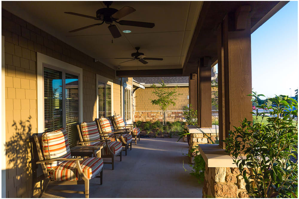 Covered outdoor seating at Anthology of Denton in Denton, Texas