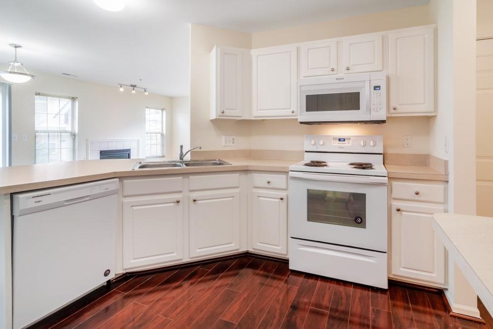 An apartment kitchen at Central Park Estates in Novi, Michigan