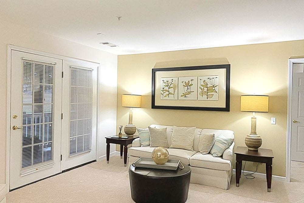 Spacious living room at Glade Creek Apartments in Roanoke, Virginia