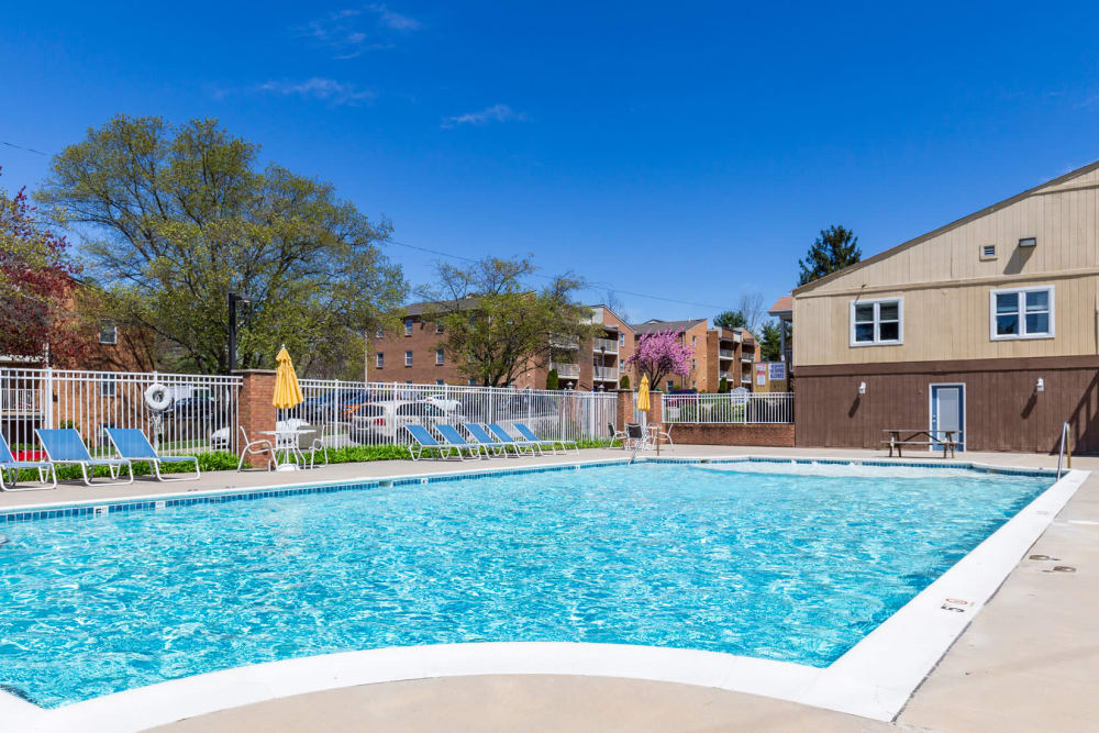 Side view of pool at The Crest Apartments in Salem, Virginia