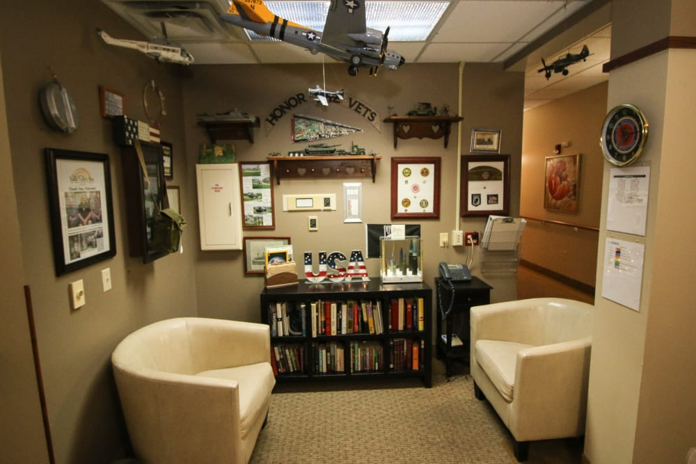 Resident library at Liberty Court in Dixon, Illinois.