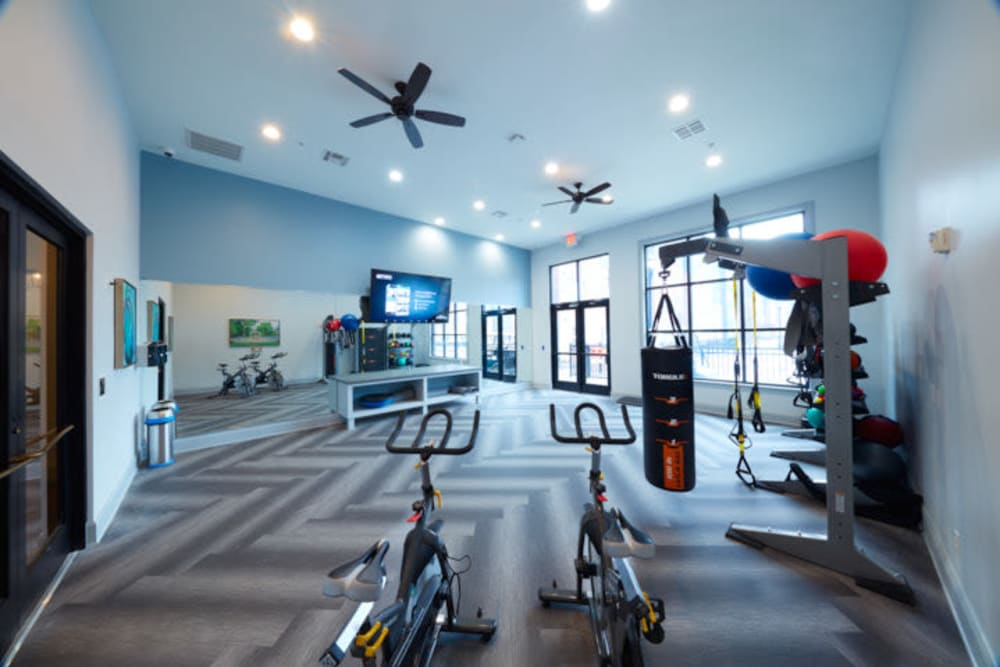 Cardio equipment available at Trifecta Apartments