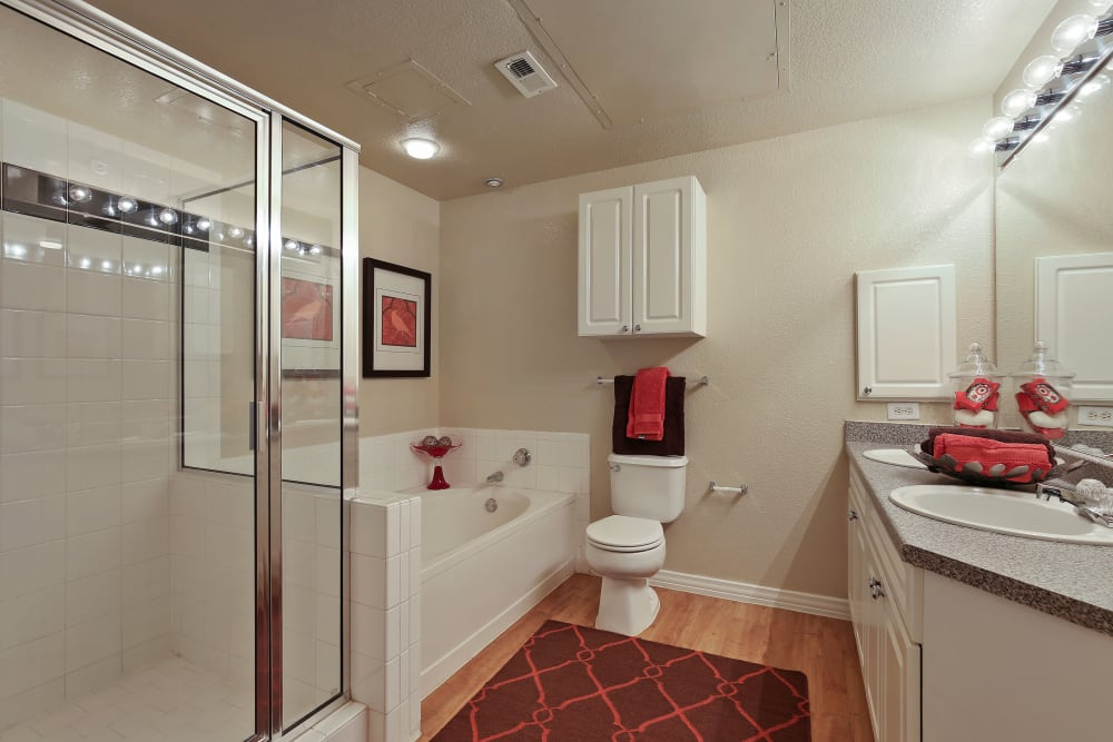Master bathroom at The Lyndon in Irving, Texas