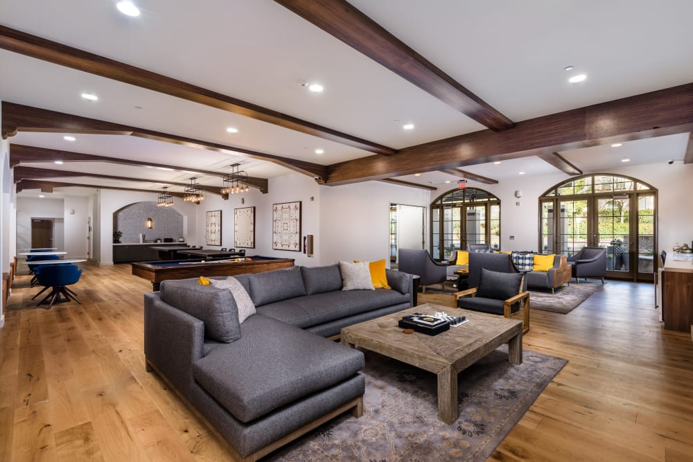 Comfortable couches to relax on in the clubhouse lounge at Mission Hills in Camarillo, California