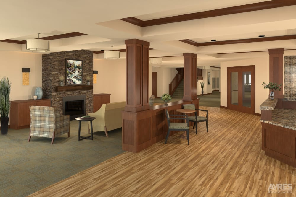 Lobby and lounge at Willows Landing in Monticello, Minnesota.